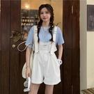 背帶褲套裝夏季韓版2021新款薄款抽繩小個子減齡寬松連體短褲女裝
