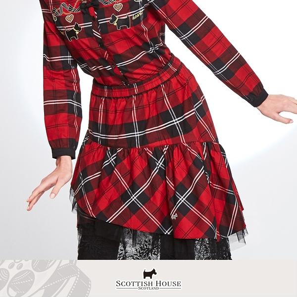 (紅黑格) 不規則內襯紗斜格長裙 Scottish House 【AM2116】