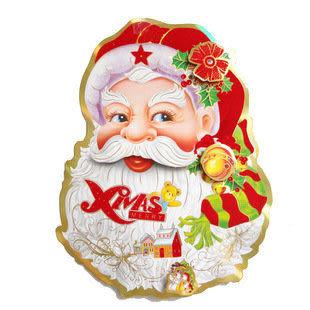 聖誕節 裝飾 立體雙面 小小號聖誕老人頭一對38克四對價