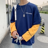 男士長袖t恤超火cec衛衣男寬鬆假兩件潮流圓領套頭上衣服 歐韓流行館