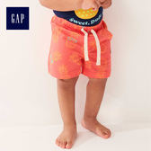 Gap男嬰兒 布萊納柔軟印花鬆緊腰短褲 464218-辣椒紅