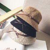 遮陽帽  蝴蝶結草帽圓頂小禮帽防曬沙灘帽折疊盆帽夏天