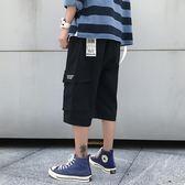 直筒7七分褲男加肥加大碼潮牌胖人寬鬆工裝沙灘褲學生運動短褲子