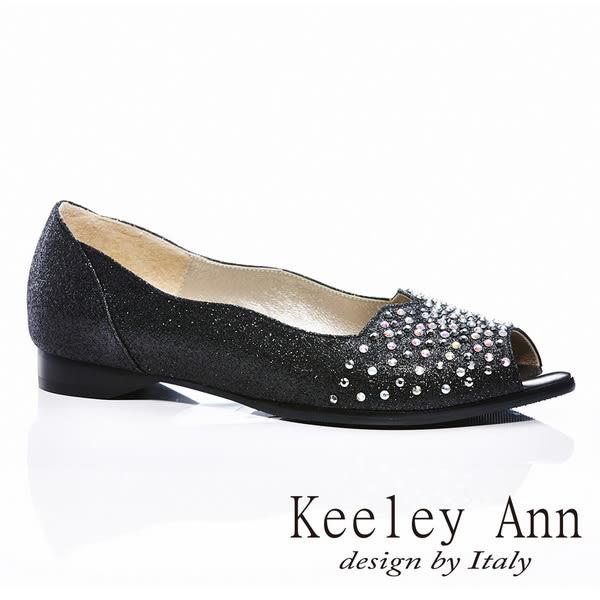 ★零碼出清★ Keeley Ann 風華時尚~鑲鑽質感魚口平底鞋(黑色)