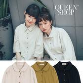 Queen Shop【01023129】圓領寬版棉麻襯衫 三色售*預購*