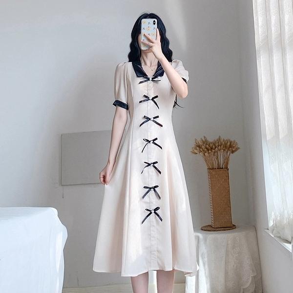 洋裝 氣質連衣裙 復古少女連身裙收腰中長裙  686 依Baby