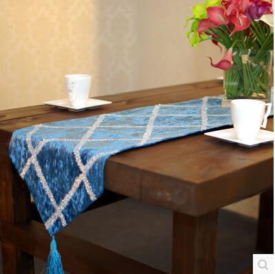 天鵝絨閃亮格子 時尚感 簡約歐式桌旗 餐椅桌布