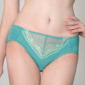 思薇爾-花蔓柔感系列M-XXL蕾絲中腰三角內褲(寶綠色)