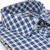 【金‧安德森】藍色格紋保暖窄版長袖襯衫