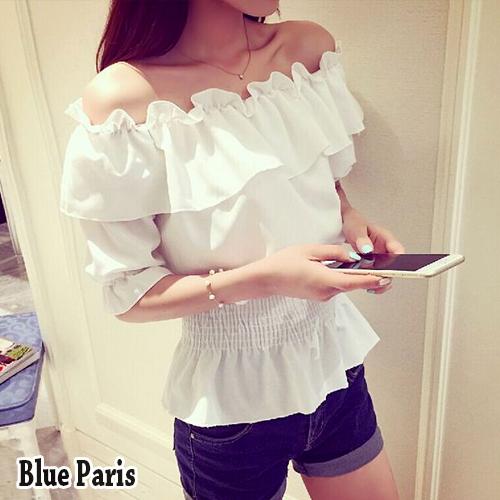 【藍色巴黎】 露肩一字領荷葉邊縮腰雪紡短袖上衣 T恤【29091】