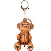 MCM VISETOS 經典圖騰小熊造型吊飾/鑰匙圈(棕色) 1730240-B3