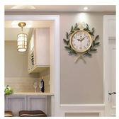 田園創意藝術家庭時鐘客廳靜音鐘復古家用裝飾臥室大掛鐘表