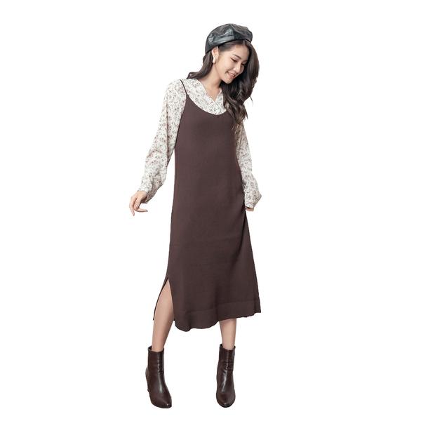 東京著衣【KODZ】KODZ-優美細肩V領直坑條側開衩多色針織洋裝(191335)