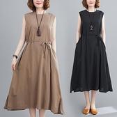 中大尺碼 無袖洋裝 胖mm無袖連身裙大碼寬鬆遮肚子顯瘦休閒減齡下擺開衩系帶中長裙女