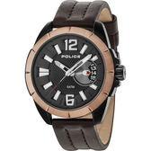【台南 時代鐘錶 POLICE】義式潮流 厚實質感剛毅性格時尚腕錶 15240JSBBN-02 皮帶 玫瑰金/黑 46mm