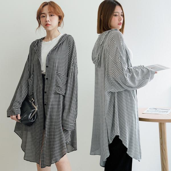 MIUSTAR 慵懶系!連帽口袋軟棉麻格紋外套(共2色)【NJ1814】預購