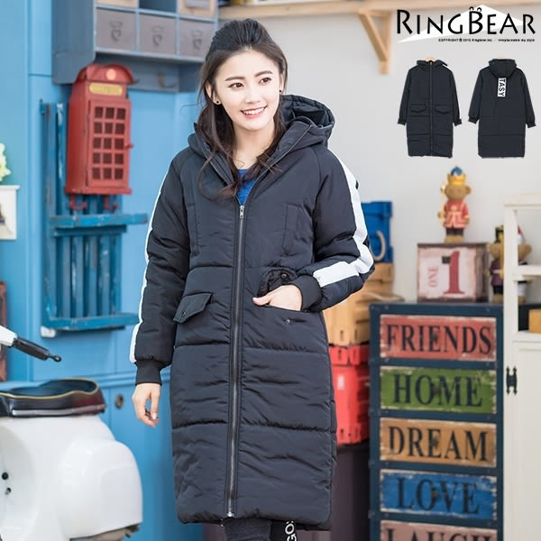 保暖外套--極致完美保暖撞色滾條英文印字立領雙口袋中長款羽絨外套(黑XL-3L)-J314眼圈熊中大尺碼