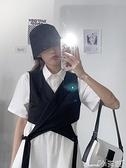 馬甲 馬甲女新款西裝馬甲短款時尚拼接無袖系帶氣質女士馬夾 小天使