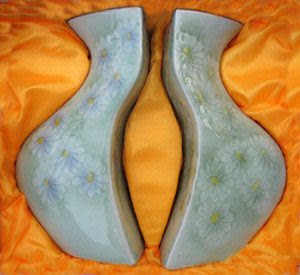 菊花對瓶 百年好合 陶瓷花瓶