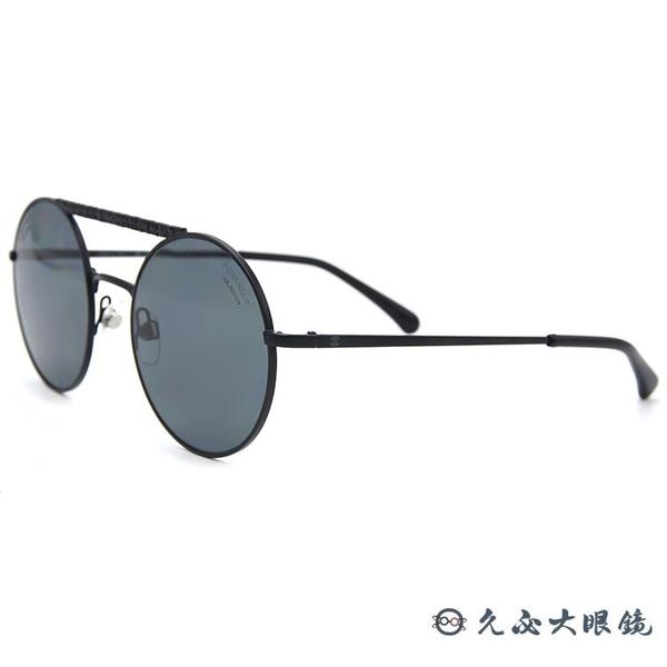 CHANEL 香奈兒 偏光太陽眼鏡 4232 (黑) 雙槓 圓框 墨鏡 久必大眼鏡