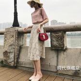蕾絲裙港味復古春夏新品女裝氣質高腰百搭蕾絲裙中長版半身裙學生(免運)