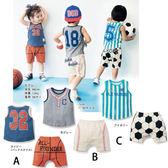 全棉 中小男女童套裝無袖圆領T 恤 藍球條紋短褲上衣短褲二件組套裝