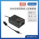 明緯 36W全球認證桌上型變壓器(GST36B24-P1J)