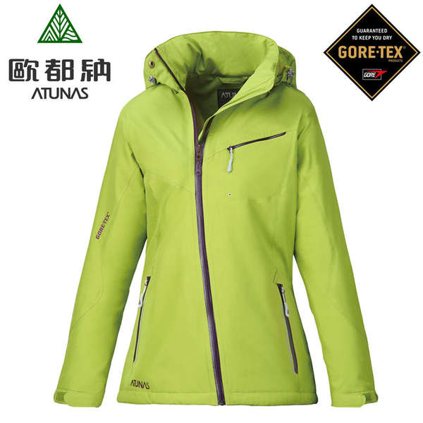 丹大戶外【ATUNAS】歐都納女款單件鋪棉防風防水Gore-Tex連帽外套/保暖透氣 A-G1329W 亮綠