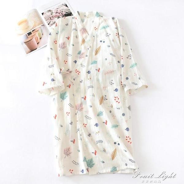 睡袍女夏季薄款純棉紗布日式和服睡裙家居長款睡袍浴衣汗蒸溫泉服 果果輕時尚
