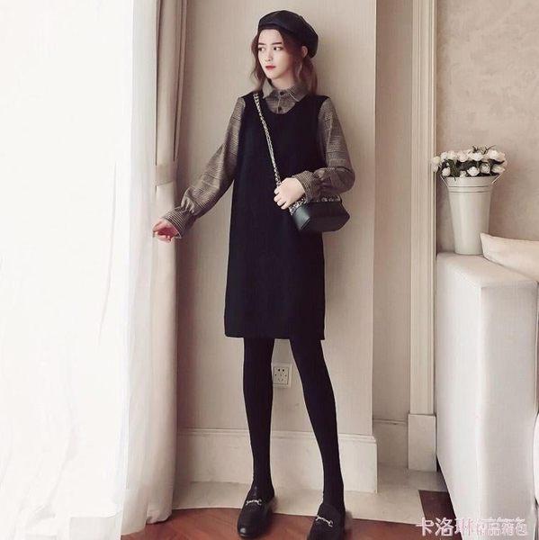 洋裝女秋冬2019新款桔梗裙復古毛呢千鳥格長袖拼假兩件針織裙子 免運