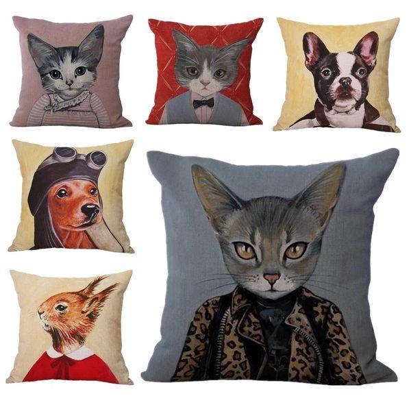 時尚創意貓咪狗狗造型棉麻布抱枕沙發靠墊(現+預)