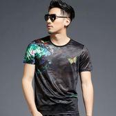 短袖T恤男 韓版潮流 休閒上衣 短袖T恤中國風個性花式圖案印花半袖圓領修身T桖wx3378