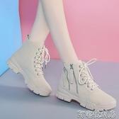 網紅馬丁靴女潮ins秋冬季新款百搭機車靴英倫風短靴加絨棉鞋 交換禮物