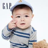 Gap嬰兒 純棉小熊刺繡包屁衣 764798-淡灰色