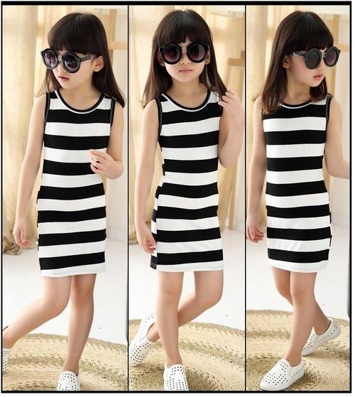 無袖洋裝 黑白條紋 女孩連身裙 中大童背心裙 女童裙裝 MC31105 好娃娃