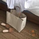 簡約大容量帆布包購物包手提包女大包【橘社小鎮】