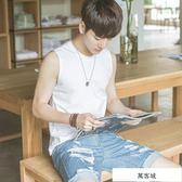 純棉夏季青少年坎肩男生運動韓版修身型打底寬松背心潮流無袖T恤 萬客城