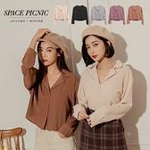 長袖襯衫 Space Picnic|素色包釦開襟短版長袖襯衫(現貨)【C20122018】