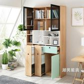 書櫃北歐創意落地書櫃簡約現代多功能儲物櫃推拉隱形書架彩色書房家具 XW