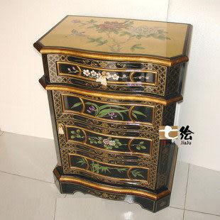古典漆器手繪彩繪 小邊櫃