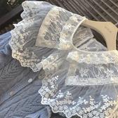 蕾絲打底衫雙層大翻領清純鉤花拼接娃娃領甜美溫柔風蕾絲打底衫上衣秋冬內搭 果果生活館