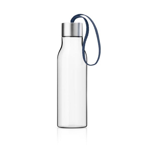 丹麥 Eva Solo Drinking Bottle 500cc 輕巧 透明 隨行冷水瓶(霧銀蓋 - 藏青藍色緞帶)