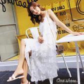 波西米亞巴厘島海邊度假沙灘吊帶裙白洋裝過膝中長款普吉島裙子中秋節促銷