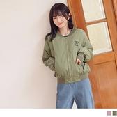 《EA2799》純色電繡英文字母暖感內鋪棉夾克外套 OrangeBear