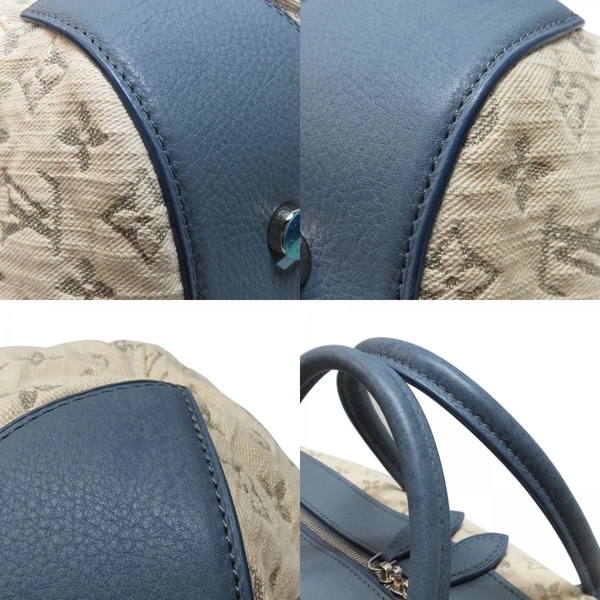 LOUIS VUITTON 路易威登 LV 米色帆布拚藍色牛皮手提斜背包 Speedy Round GM M40705 【二手名牌BRAND OFF】