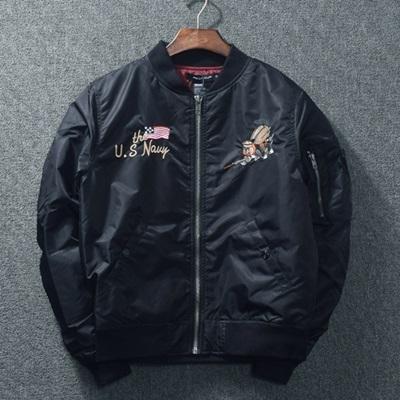 空軍外套-美式復古刺繡寬鬆男女MA1夾克(單件)2色72av18【巴黎精品】