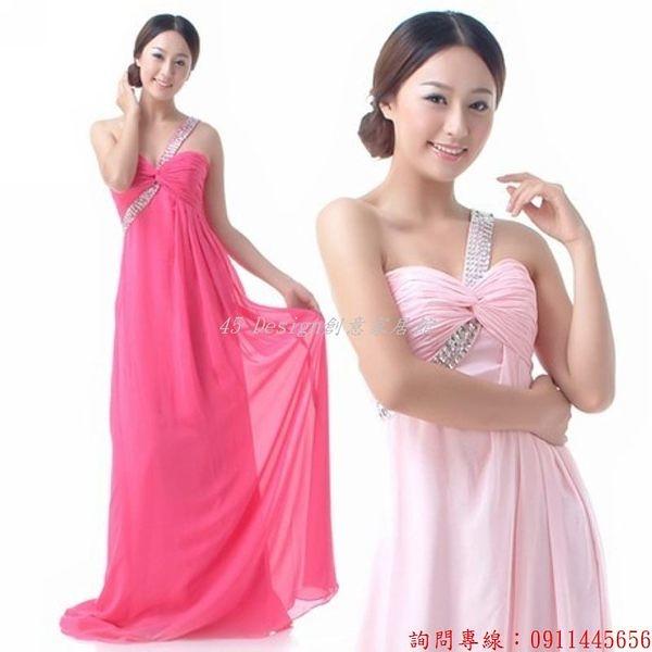(45 Design) 定做  7天到貨 新款 紅色斜肩新娘結婚禮服 長款敬酒服 晚禮服   單肩