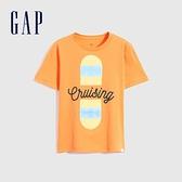Gap男童 純棉雙面亮片短袖T恤 696996-橙色
