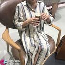 襯衫洋裝 豎條紋配色寬鬆長版襯衫 艾爾莎【TGK5570】