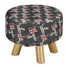 【森可家居】強尼花布圓凳 8ZX560-14 麻布椅凳 實木腳 美式休閒